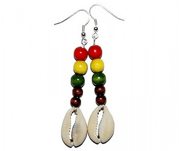 RASTA EARRINGS - BROWN COWRIE