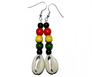 RASTA EARRINGS - BLACK COWRIE