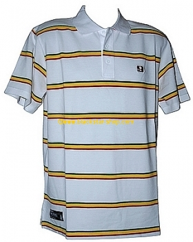 Polo RASTA STRIPES - BLANC