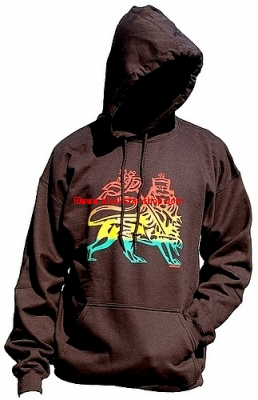 Sweatshirt capuche LION OF JUDAH - MARRON