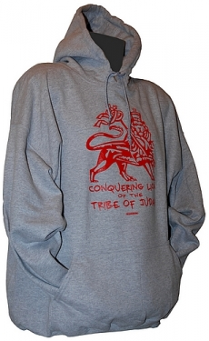 Sweatshirt capuche TRIBE OF JUDAH RED - GRIS CHINE