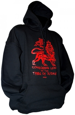 Hooded sweatshirt RED TRIBE OF JUDAH - BLACK