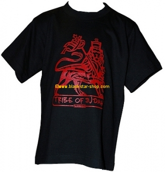 Rasta tee youth RED TRIBE OF JUDAH - BLACK